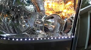 how to install led lights in car headlights tundra headlight led strip install youtube