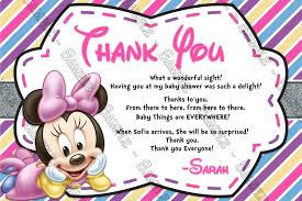 minnie mouse thank you cards novel concept designs minnie mouse baby girl baby shower