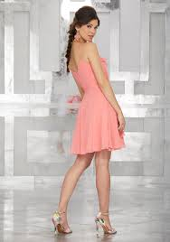 wrap style chiffon party dress with ruffled neckline style 9460