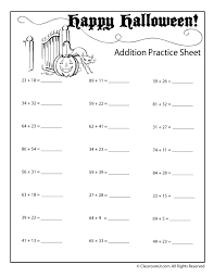 double digit halloween addition worksheet numbers up to 99 woo