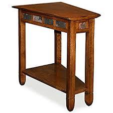 wedge shaped end table amazon com leick 10056 rustic oak slate tile recliner wedge end