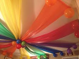 Roof Decorations Plastic Table Cloths As Ceiling Decorations Rainbow Party
