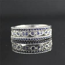 18k white gold wedding band bridal ring set sapphire band set white gold half eternity ring