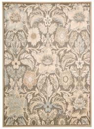 nourison walden 2 grey area rug square grey light brown floral
