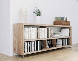 Solid Wood Bookcase Bookshelf Interesting Low Bookcases Horizontal Bookcase