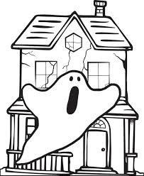 free printable halloween haunted house coloring page for kids 1