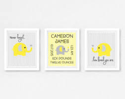 Grey And Yellow Nursery Decor by Elephant Nursery Art Etsy