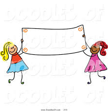 vector clipart of a childs sketch of two girls holding a blank