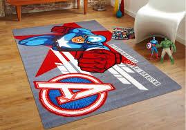 Red Kids Rug Zoe Captain America Avengers 100x150cm Kids Rug Rugtastic