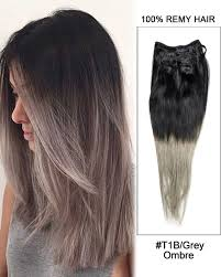 ombre hair extensions clip in 7pcs clip in human hair extensions t1b grey ombre hair