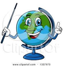 royalty free rf clipart illustration of a shiny blue desk globe