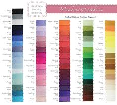 list of colours tied ribbon place card
