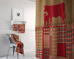 Shower Curtains With Red Shower Curtains U0026 Rings Etsy
