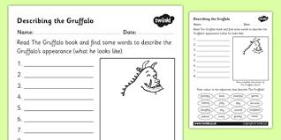 the gruffalo description sheet the gruffalo description