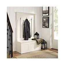 wood hall tree coat rack storage entryway bench organizer white