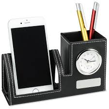 Executive Desk Organizer 4imprint Brando Clock Desk Organizer 130801 Imprinted With
