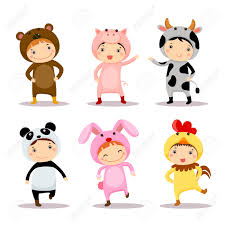 cute kids wearing animal costumes royalty free cliparts vectors