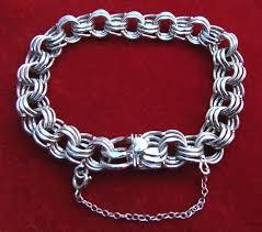 silver charm link bracelet images Hefty vintage sterling silver triple link charm bracelet sold jpg