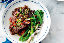 asian style braised beef short ribs with chinese broccoli