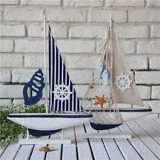 boat decor for home modern mediterranean wood sail boat model craft boat shape home