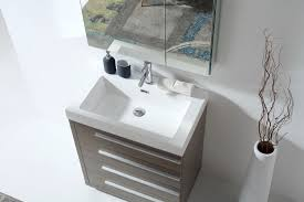 30 inch modern grey oak bathroom vanity white square basin