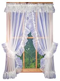 Priscilla Curtains With Attached Valance White Sheer Ruffled Priscilla Window Curtains With