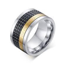 mens spinner rings 2018 free engraving 12mm men s stainless steel tri color spinner