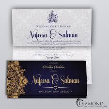 muslim wedding card navy and beige royal muslim wedding card light version diamond