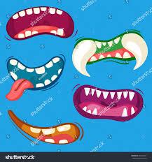 Cute Halloween Monster by Cartoon Cute Monster Mouths Set Different Stock Vector 640416031