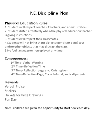 physical education rules and consequences