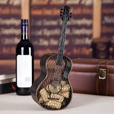Wine Home Decor Best And Cheap Brown Tooarts Guitar Wine Cork Container Practical