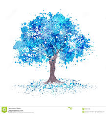 winter blue tree with snowflakes stock illustration image 49027095