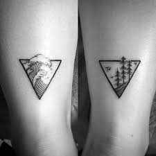 tattoo trends mens triangle nature simple wave back of leg