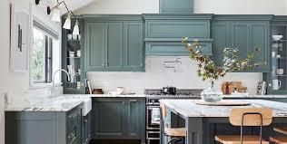 green kitchen cabinets with white island kitchen cabinet paint colors for 2020 stylish kitchen