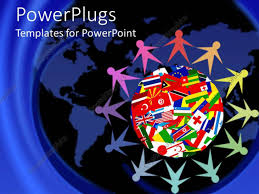 Countries Of The World Flags Powerpoint Template Colorful Figures Holding Hands Sitting Around
