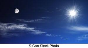 sun and moon together on the sky symbolizing stock photos