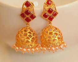 kempu earrings colorful jhumka etsy