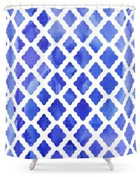 society6 watercolor diamonds in cobalt blue shower curtain