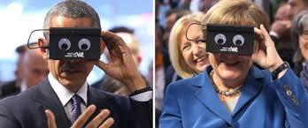 Obama Sunglasses Meme - obama angela merkel geek out with vr goggles youtube