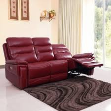 Buy Sofa Online India Mumbai Three Seater Adolf Leatherette Power Recliner Sofa 3 Seater Red
