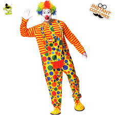 Clown Costumes Mens Colorful Dot Clown Costumes Funny Clown Clothes With Jumpsuit