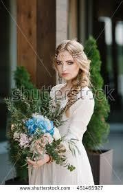 beautiful bride wedding dress holding big stock photo 451465927