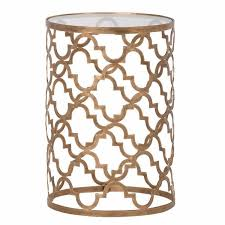 london quatrefoil trellis antiqued champagne gold glass top side table
