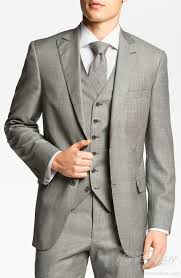 mens light gray 3 piece suit light grey peak lapel 3 piece plaid suit for men