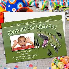 10 personalised dinosaur t rex birthday party photo invitations n121