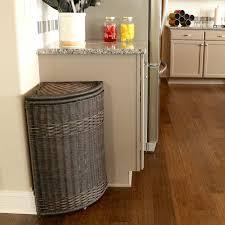 corner kitchen cabinet liner corner wicker trash basket with metal liner