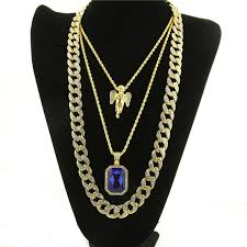 plated necklace chains images Micro angel red stone cuban link chain 3 necklace set gold jpg