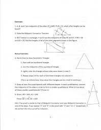 Midpoint Of A Line Segment Worksheet Geometry Common Core Style Lesson 11 5 The Midpoint Connector