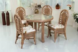 dining room brown ratan with keaves white cuhsion wicker dining