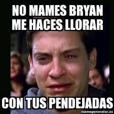 Bryan Meme - meme crying peter parker no mames bryan me haces llorar con tus
